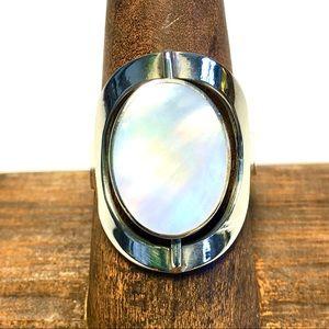 Rotating 2 stone ring mother-of-pearl & Mahogany